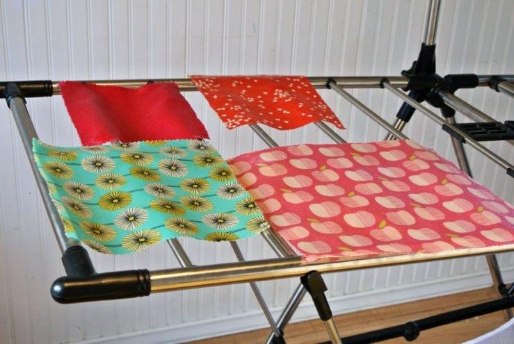 reusable food wrap on drying rack