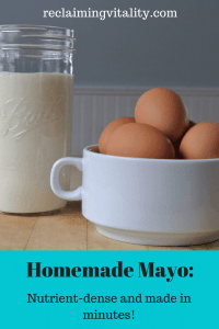 Trade the thickeners, preservatives and other questionable ingredients in store-bought mayo for nutrient-dense pastured eggs and avocado oil. It takes just a few minutes to make your own mayonnaise!