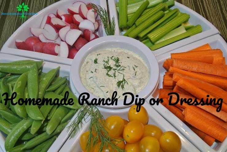 Homemade Ranch Dip with a veggie tray