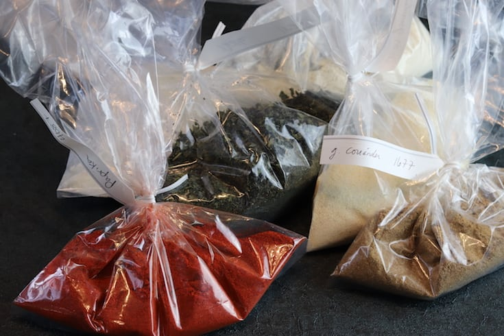 Spices in bags