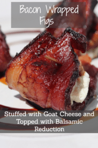 Bacon Wrapped Figs Stuffed with Goat Cheese and Topped with Balsamic Reduction #paturedbacon #traditionalfoods #appetizer #summerbbq #reclaimingvitality