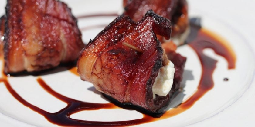 Bacon Wrapped Figs Stuffed with Goat Cheese and topped with Balsamic Reduction