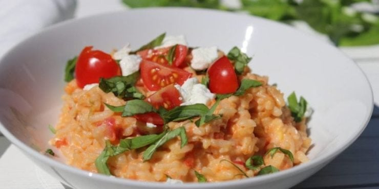 Instant Pot Risotto with Tomatoes, Basil, and Goat Cheese